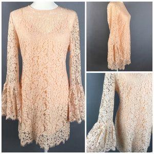 NWT Rachel Zoe Bell Sleeve floral blush lace dress